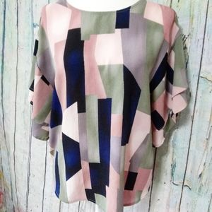 BOBEAU Abstract Print Blouse Nordstrom